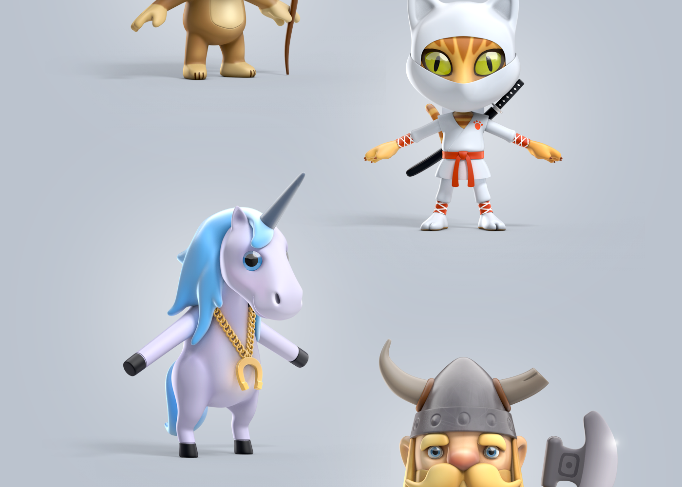 Game Character Design Apps : Character design and hi poly renders for a new learning platform