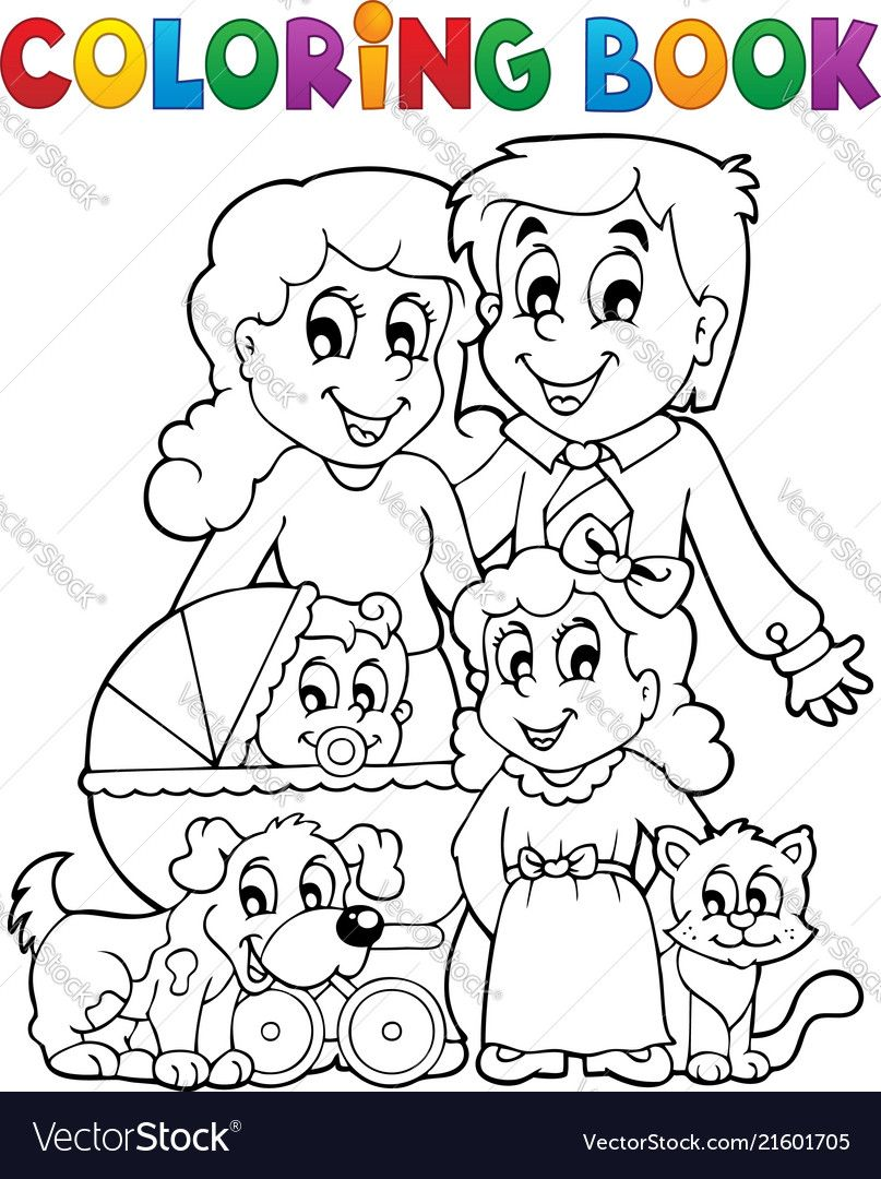 Coloring Book Family Theme Eps10 Vector Illustration Download A Free Preview Or High Quality Adobe Illustrator Ai Eps Pd Coloring Books Family Theme Theme