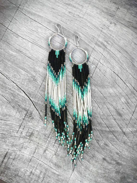 Long Fringe Beaded Earrings Mint Teal Black Shoulder Dusters Seed