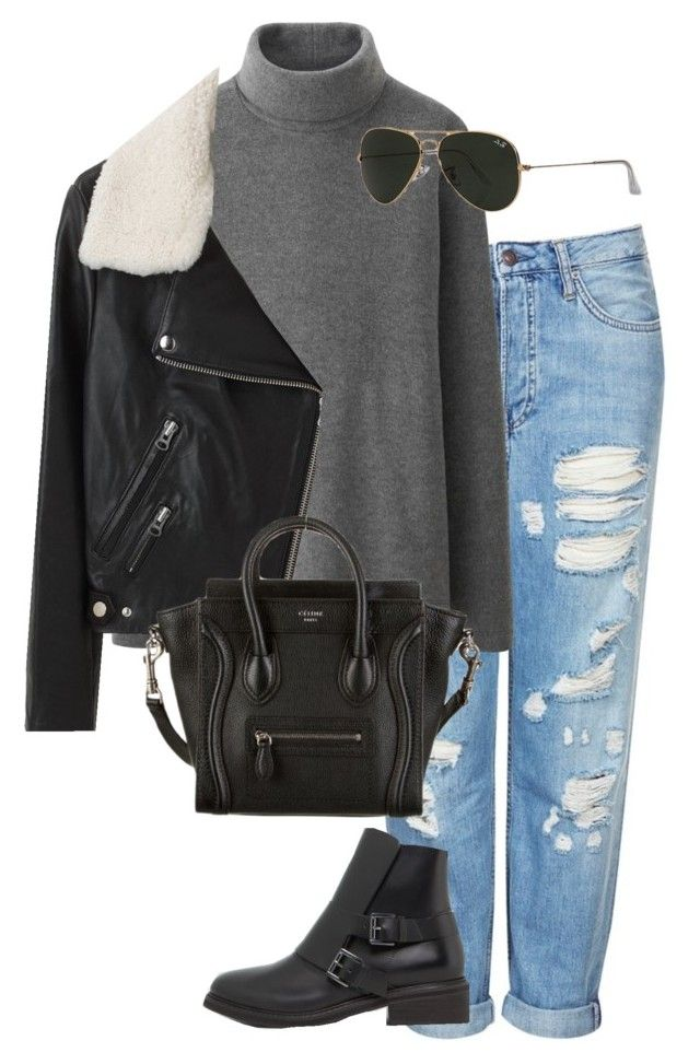 """""""Untitled #332"""" by sofia-608 ❤ liked on Polyvore featuring Topshop, Uniqlo, Pull&Bear, Acne Studios, CÉLINE and Ray-Ban"""