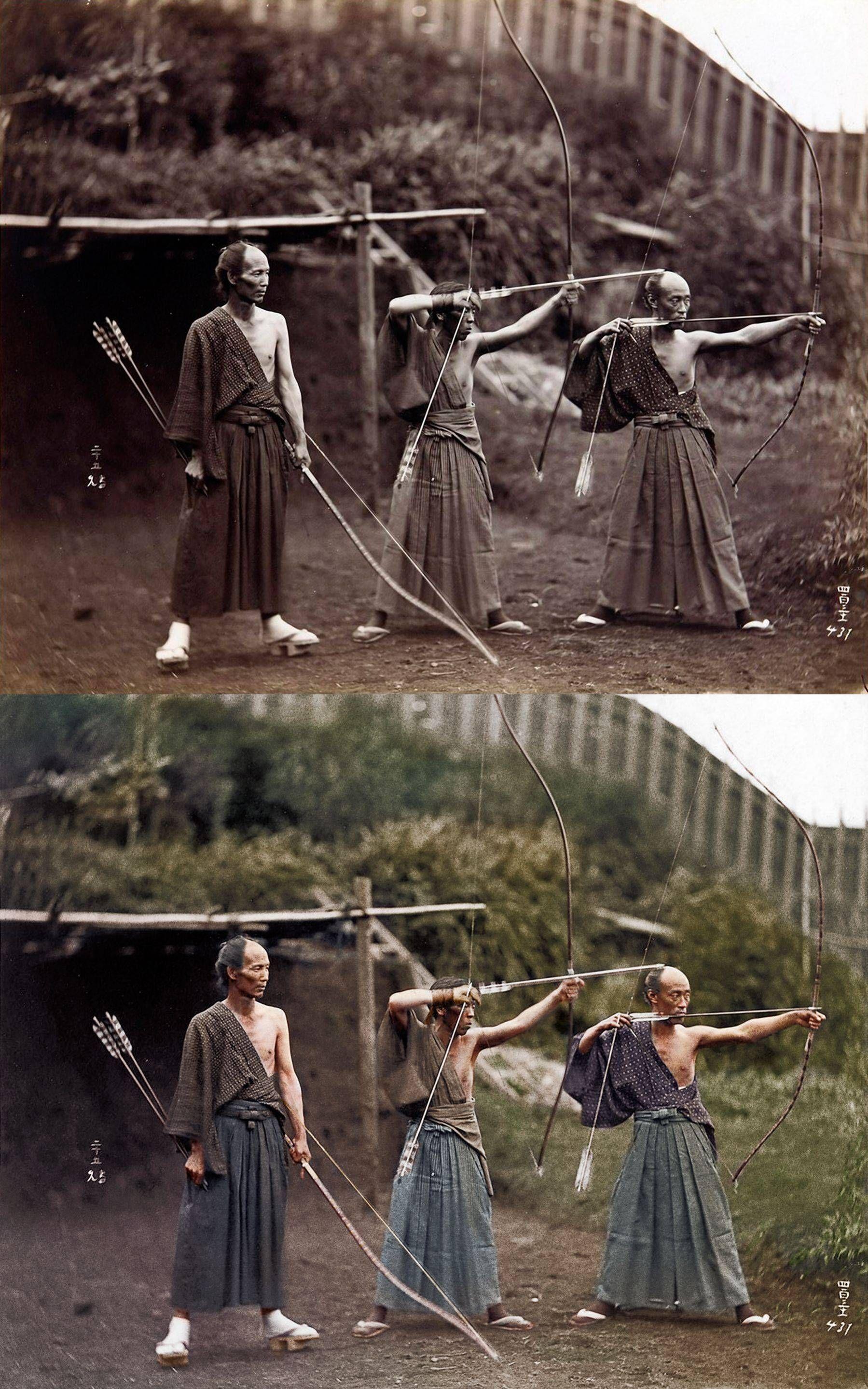 Kyudōka 弓道家 Japanese Archers C 1860 写真 歴史的な写真 写真のアイデア