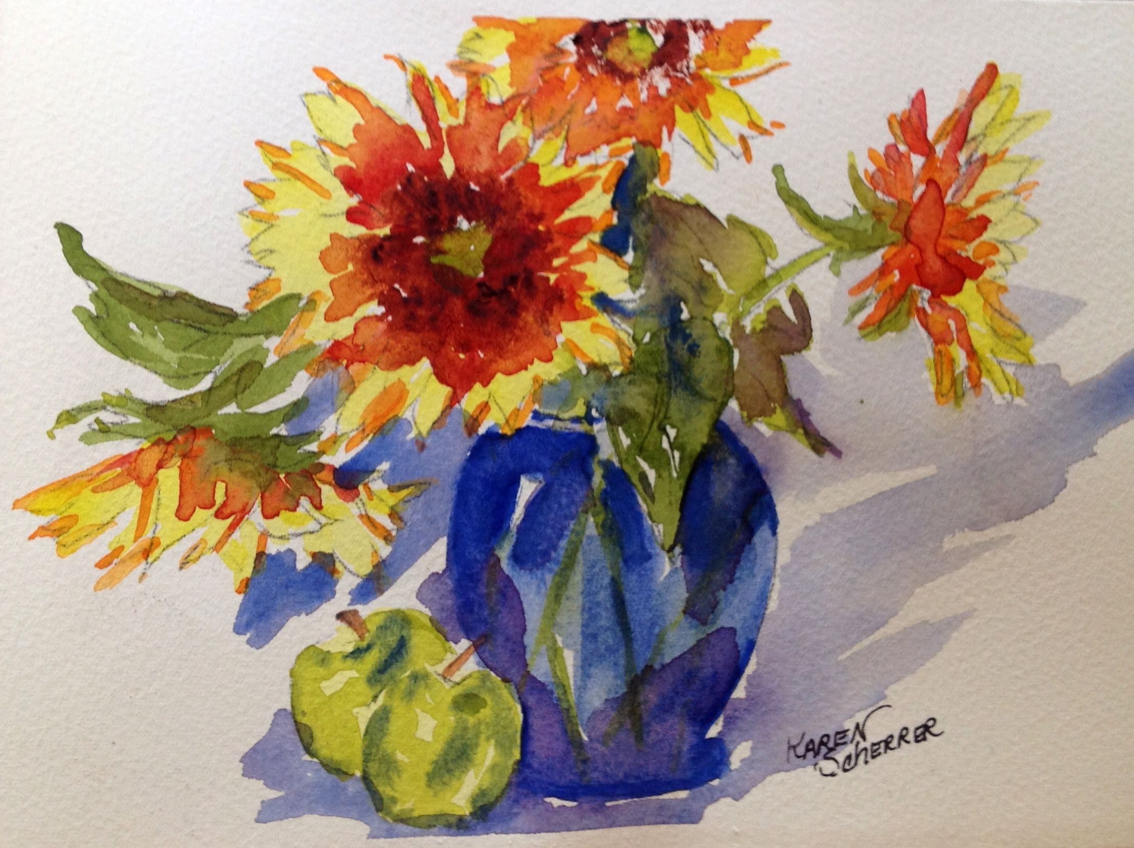 Watercolor artist in texas -  Sunshine In In A Blue Vase By Texas Watercolor Artist Karen Scherrer