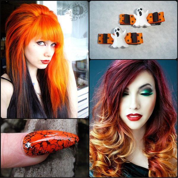 DIY Halloween Hairstyles orange dip dyed ombre hair