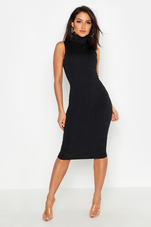 Ribbed High Neck Sleeveless Midi Dress Boohoo Midi Dress Sleeveless Black Dresses Classy Turtle Neck Dress Outfit [ 1500 x 1000 Pixel ]