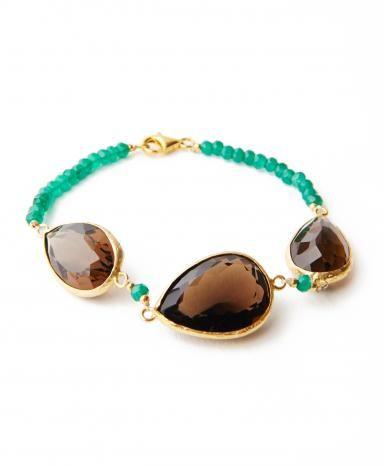 Green Beaded Brown Teardrop Bracelet 3 Color Combo