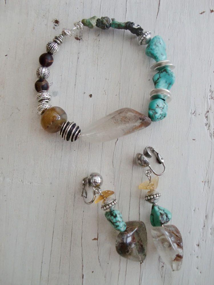 Boucles et bracelet 'Lhassa'