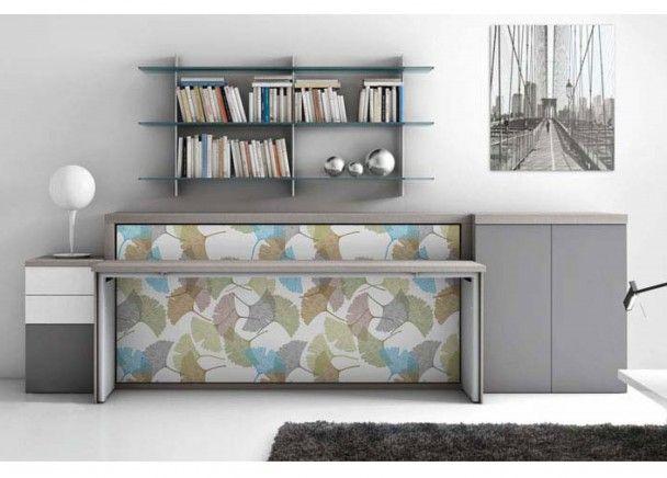 Mueble con cama abatible horizontal para sal n camas - Mueble salon con cama abatible ...