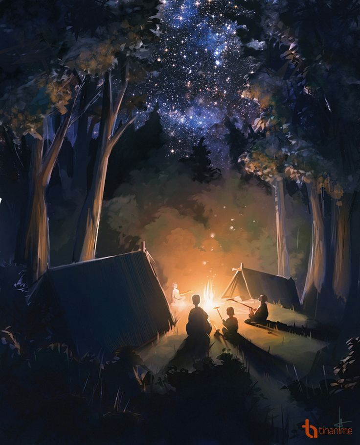 Cute Family Camping Under The Stars