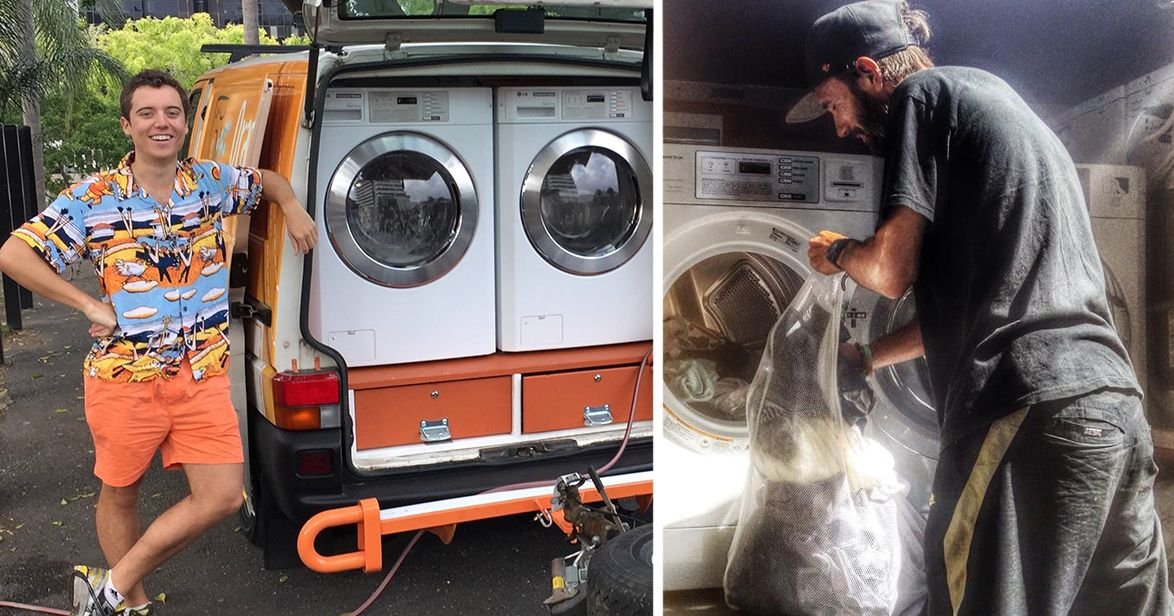 Two Friends Turned Their Van Into A Mobile Laundromat To Wash