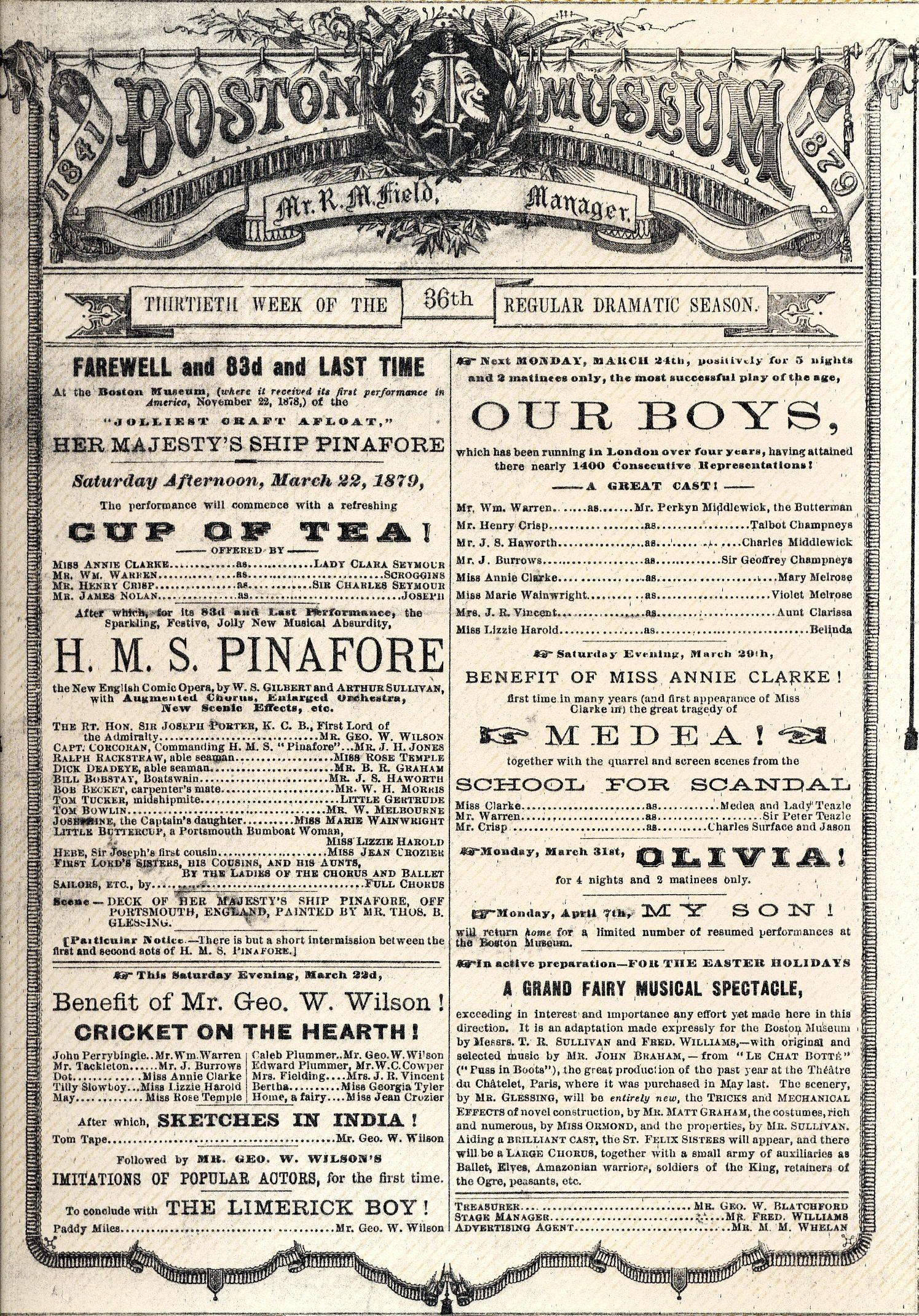 H.M.S. Pinafore Playbill | Bread and Circus | Pinterest