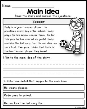 19++ Reading worksheets on main idea Top