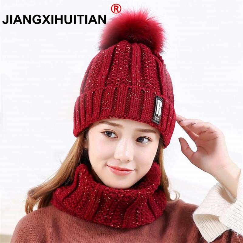 b1e742b1e3b Girl Warm Ski 2018 new brand Big Fur pom poms ball Knitted hats scarf hat  set