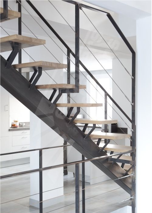 dt65 esca 39 droit sur limon central escalier sur limon central d 39 int rieur m tal et bois. Black Bedroom Furniture Sets. Home Design Ideas