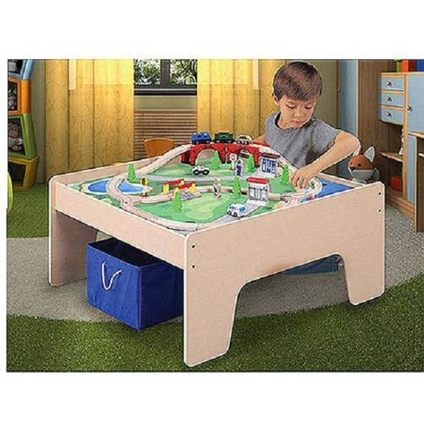 Wooden Activity Table With 45 Piece Train Set Storage Bin Boys