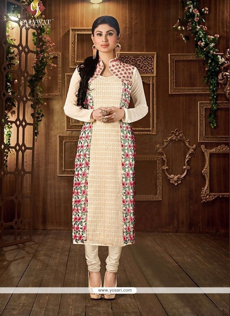 e35ba3a863 Buy indian salwar kameez and designer salwar kameez online at very good  prices. Buy this georgette cream for festival and party