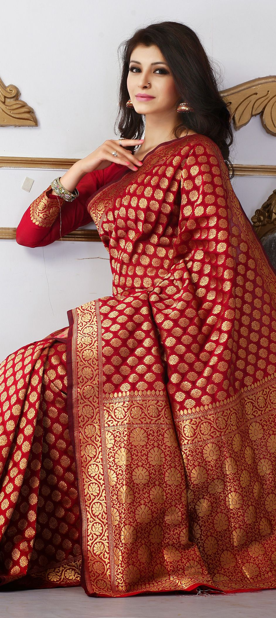 c063175f5c 136856: Red and Maroon color family Party Wear Sarees with matching  unstitched blouse.