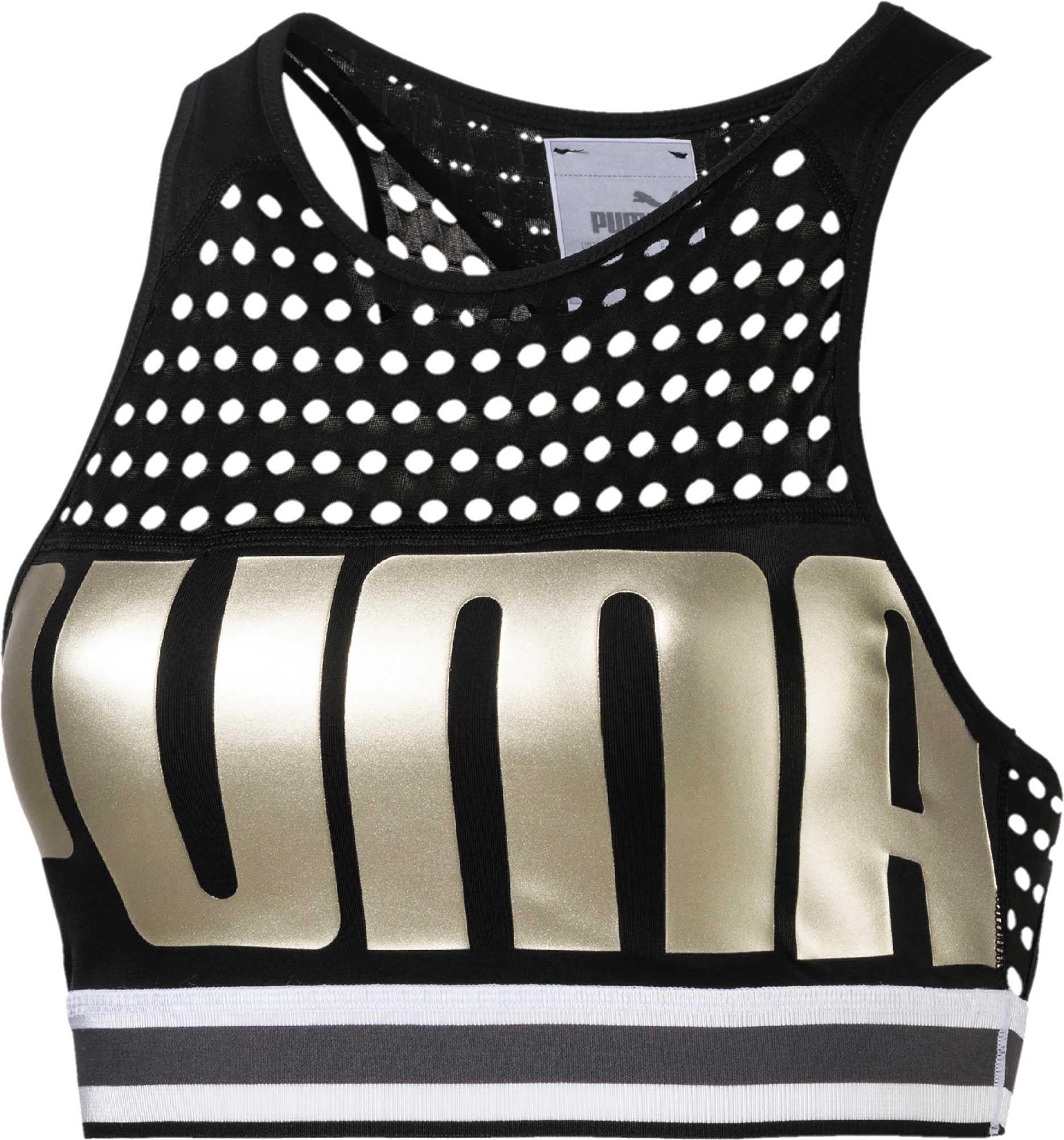 Puma Women's Graphic Sports Bra, Black | Medium support
