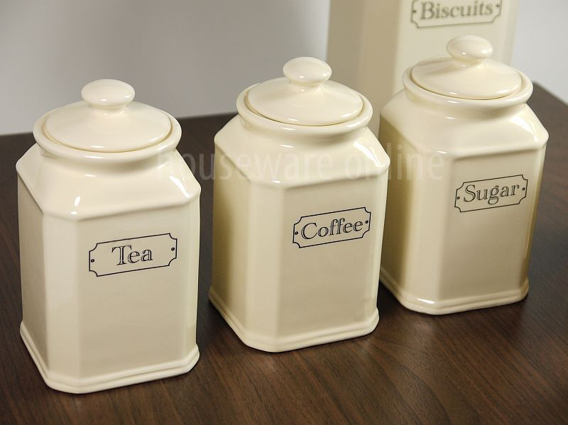 Ceramic Kitchen Canisters Cream Ivory Tea Coffee Sugar Jar Canister Set Ebay