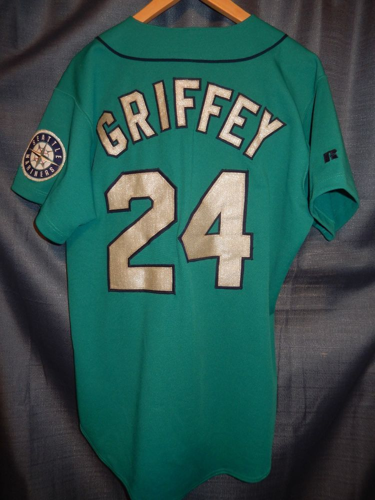 VTG 1990s KEN GRIFFEY JR Seattle Mariners Russell Diamond Collection Teal  Jersey… 91481f833