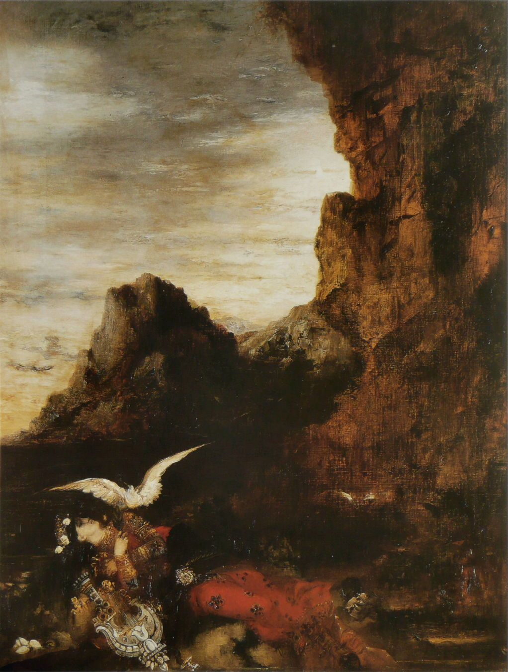 Gustave Moreau (1826–1898), The Death of Sappho (c 1870-2), oil on canvas, 81 × 62 cm, Private collection. Wikimedia Commons. - pigeons and doves in fine art - https://eclecticlightdotcom.files.wordpress.com/2016/12/moreaudeathofsappho.jpg