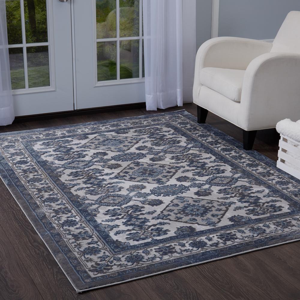 Bazaar Elegance Gray Blue 8 Ft X 10 Ft Indoor Area Rug 1 13152c