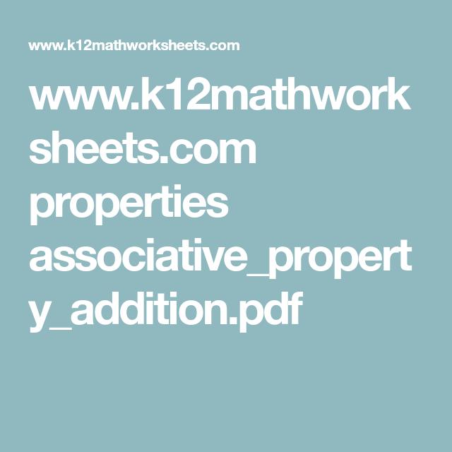K12mathworksheets Properties Associativepropertyaddition