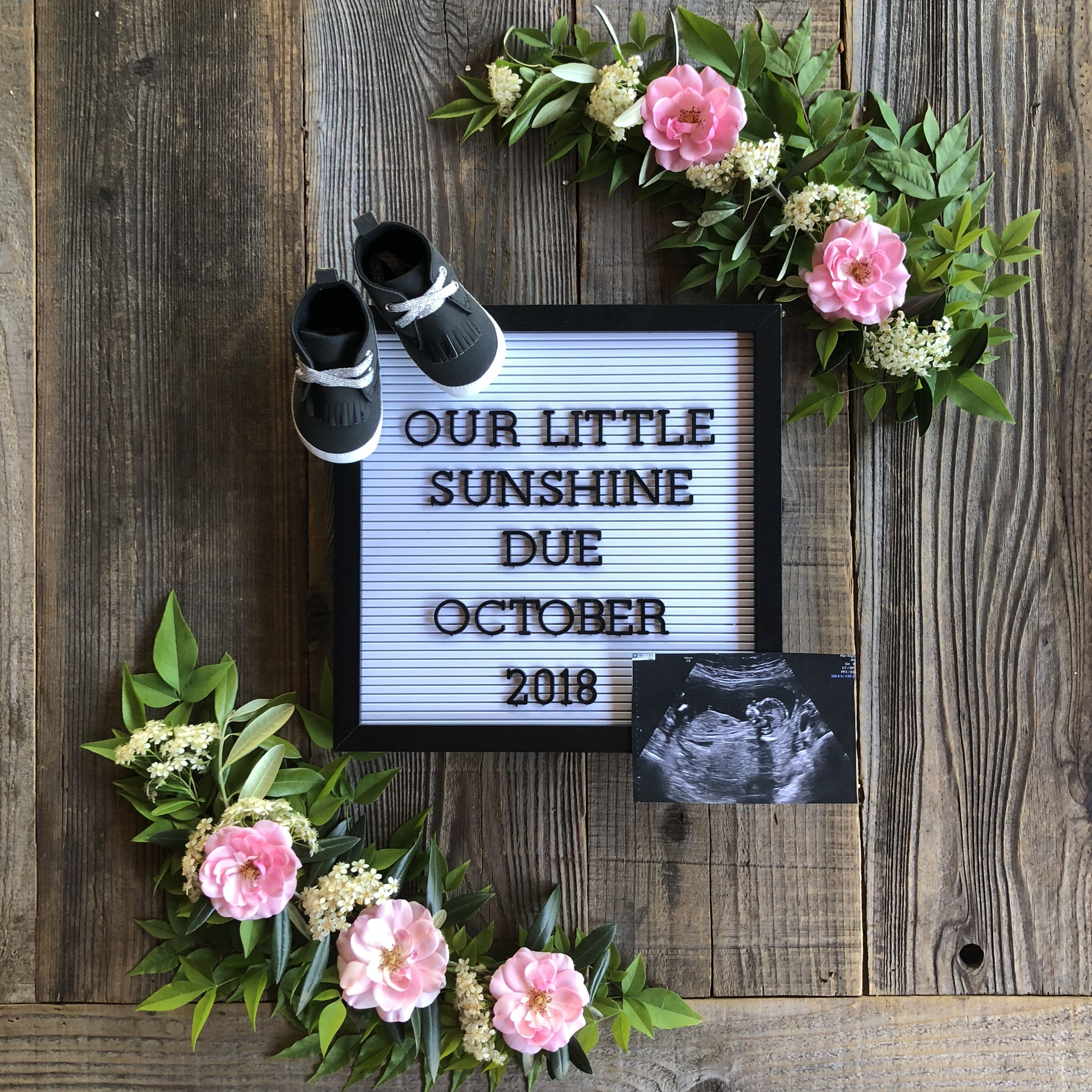 baby girl letter board announcement with flowers Baby