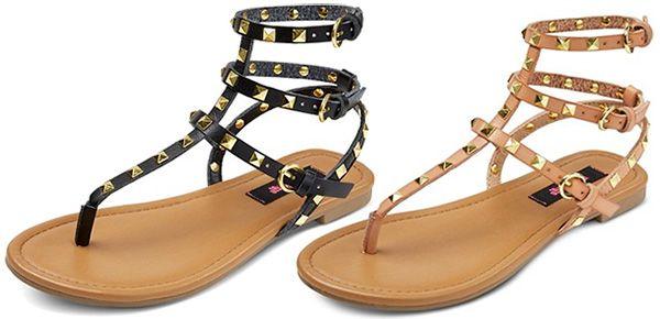 4b9eee7dfe1 Betseyville Pyramid Stud Gladiator Sandals in black and nude