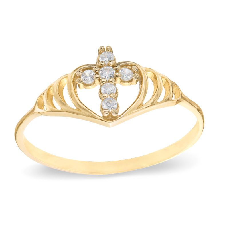 Heart And Cross Cubic Zirconia Ring In 10k Gold Size 8 Piercing Cubic Zirconia Rings Rings 10k Gold
