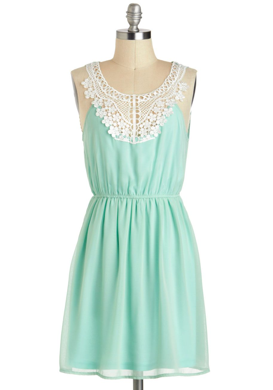 Pergola Di Da Dress - Sheer, Mid-length, Mint, White, Solid, Crochet ...