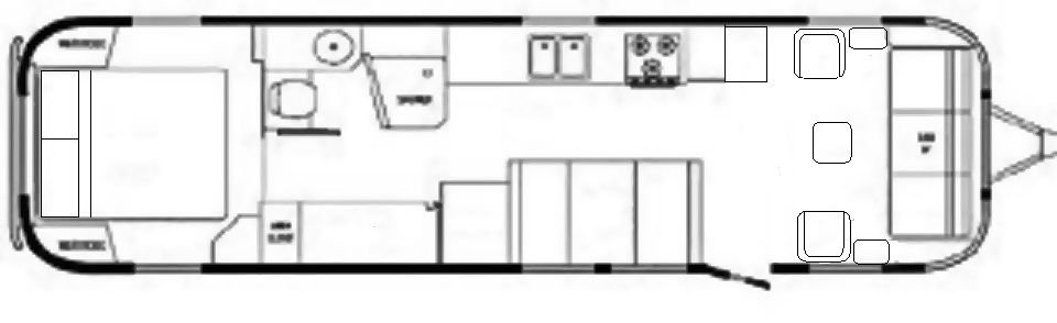 The Vintage Airstream Classic Limited 34 Foot Travel Trailer Floor Plan Travel Trailer Floor Plans Vintage Travel Trailers Travel Trailer