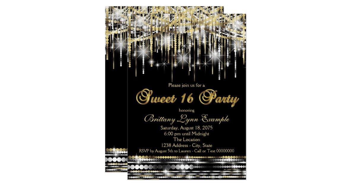 Glitter Sparkle Sweet Sixteen Party Black And Gold Invitation