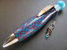 "New Stylish Turquoise & Purple Geometric Flower Print ""Chubby"" Pen - Cute!"