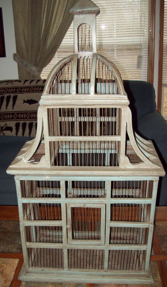 Vintage Shabby Style Birdcage Bird Cage Dome Antique Wood