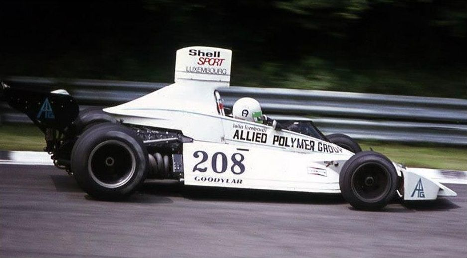 Lella Lombardi, during her first attempt to qualify for a World Championship race at Brands Hatch for the 1974 British Grand Pr...