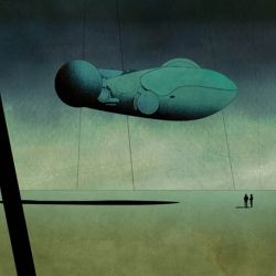 inland is a series of illustrations by artist Dan McPharlin reminiscent of the 70's Sci-fi