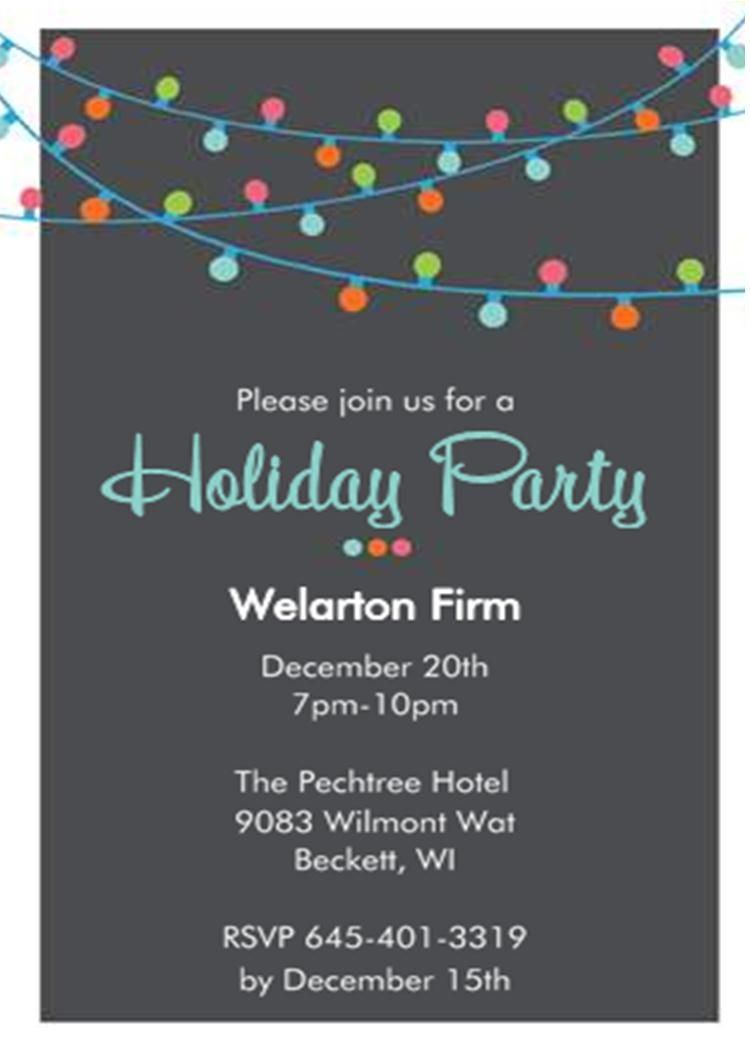 Christmas Holiday Lights Office Company Party Invitations Within Company Party Invitation Templates
