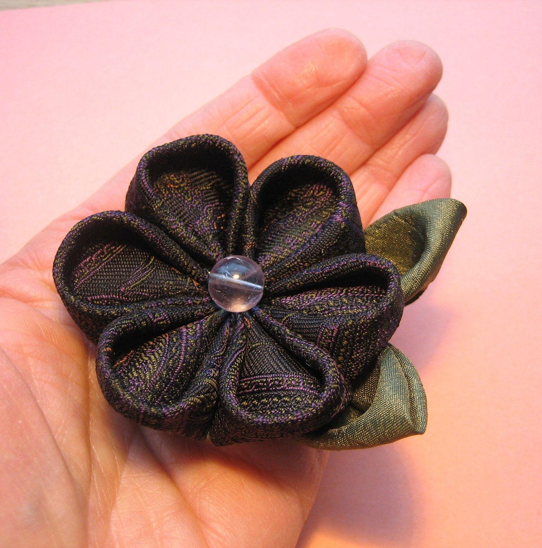 Kanzashi Flower Hair Clip Comb or Brooch Gray by empressbarrettes