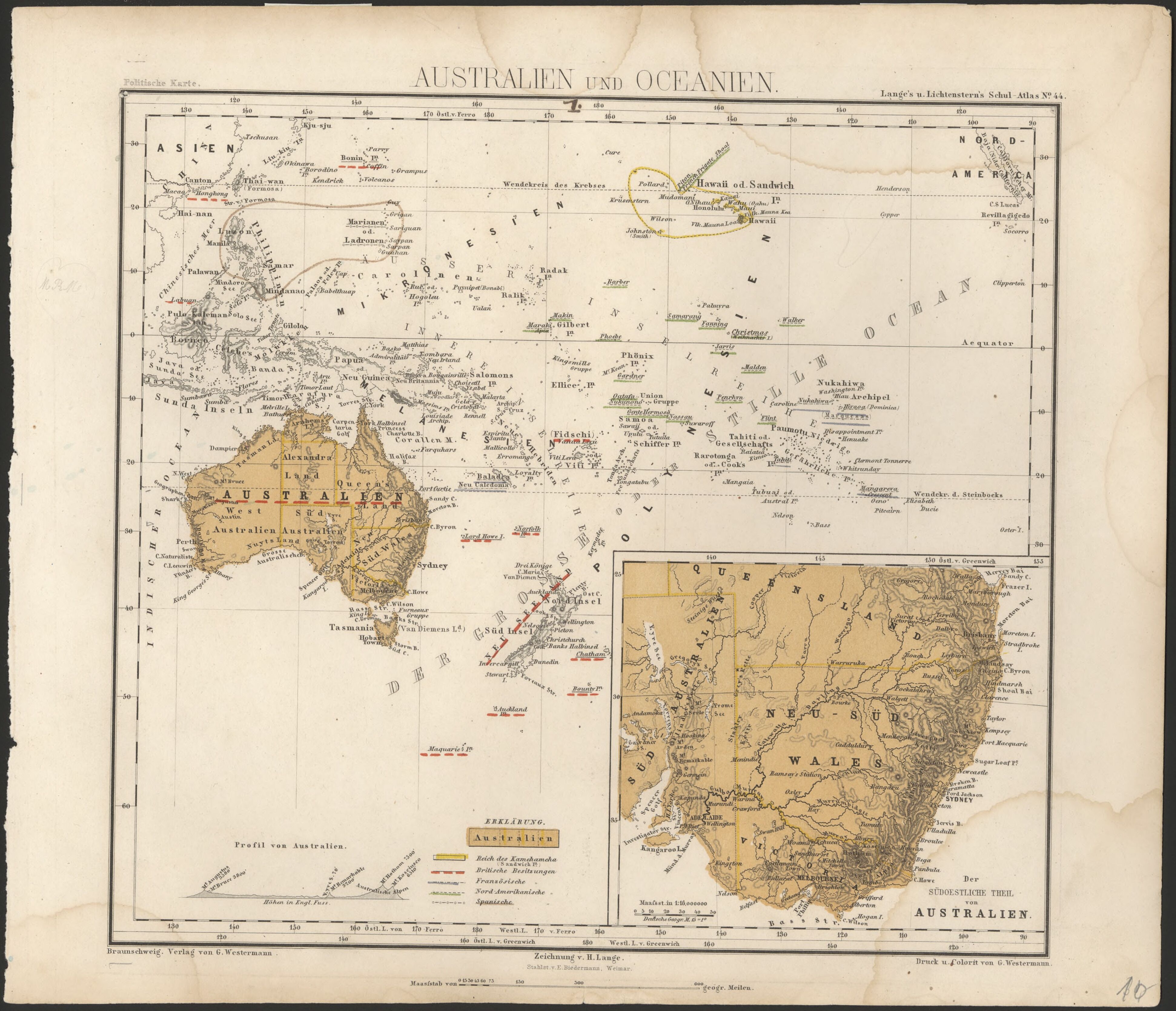 1872 map of australia and oceania showing british french north 1872 map of australia and oceania showing british french north american and spanish possessions gumiabroncs Gallery