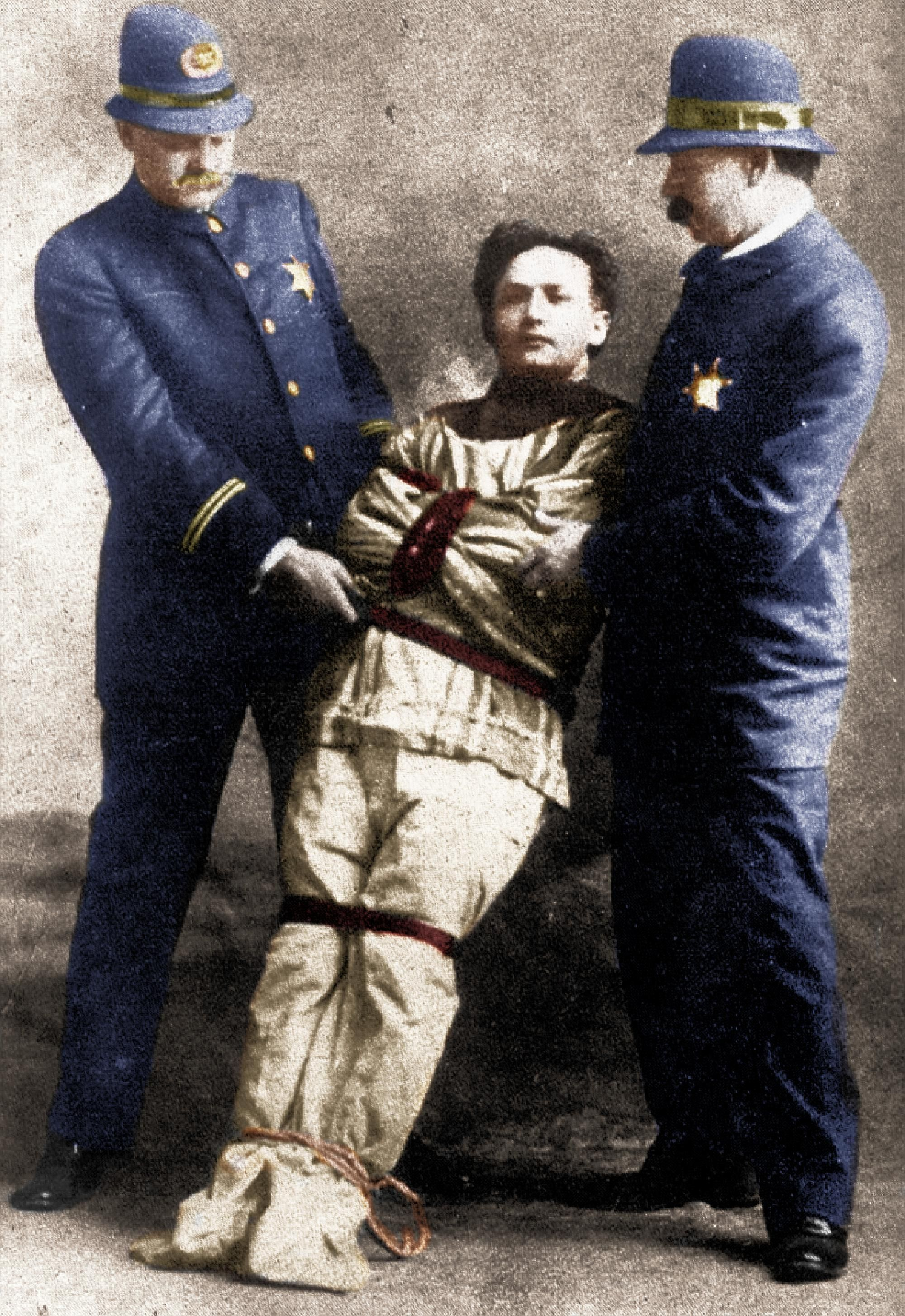 Harry Houdini With Two Policemen Straitjacket Escape