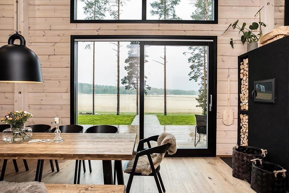 Black Log Home Into A Rural Setting Honka In 2020 Log Homes Log Home Interior Modern Log Cabins