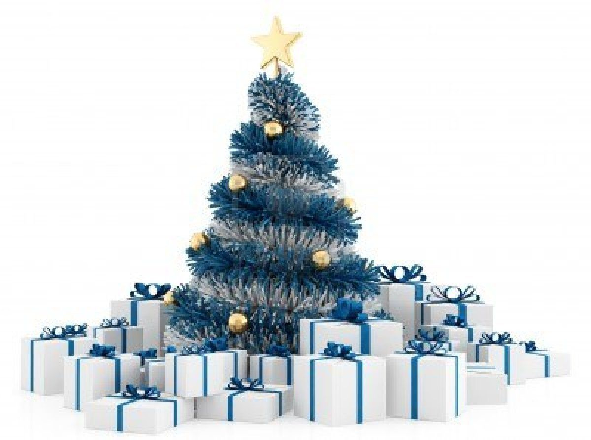White And Blue Christmas Tree With Gifts On White Background Blue Christmas Tree Christmas Christmas Tree Decorations
