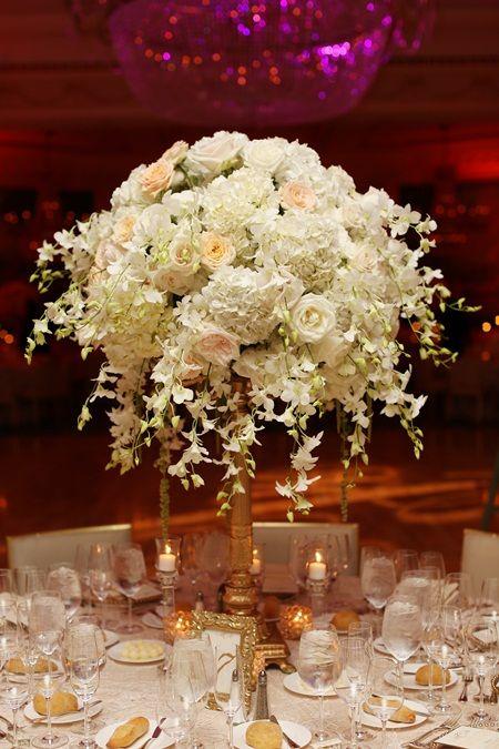 Romantic ivory florals gold base centerpiece floral