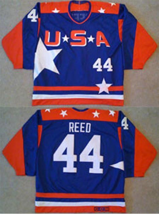 Men s high quality USA Mighty Ducks Movie Jersey  44 Fulton Reed ICE Hockey  Jersey blue and green color 1a6a02ece