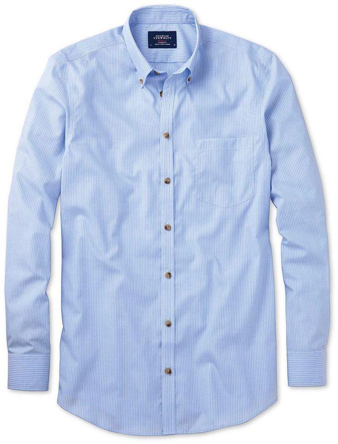0b8be81a Charles Tyrwhitt Classic Fit Non-Iron Poplin Sky Blue Stripe Cotton Casual  Shirt Single Cuff Size Large