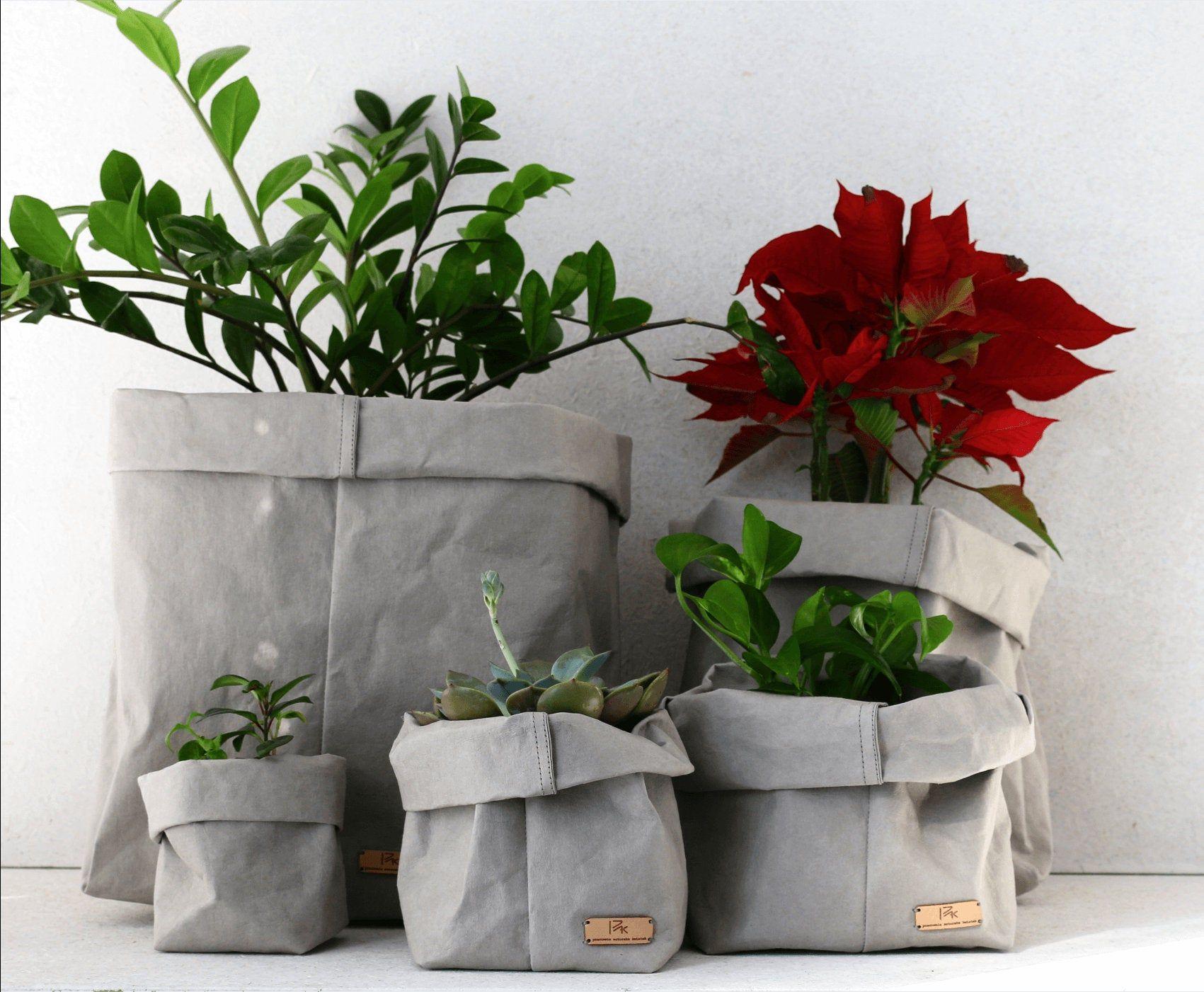 Stone Paper Bag Washable Paper Storage Bag Basket Flower Pot