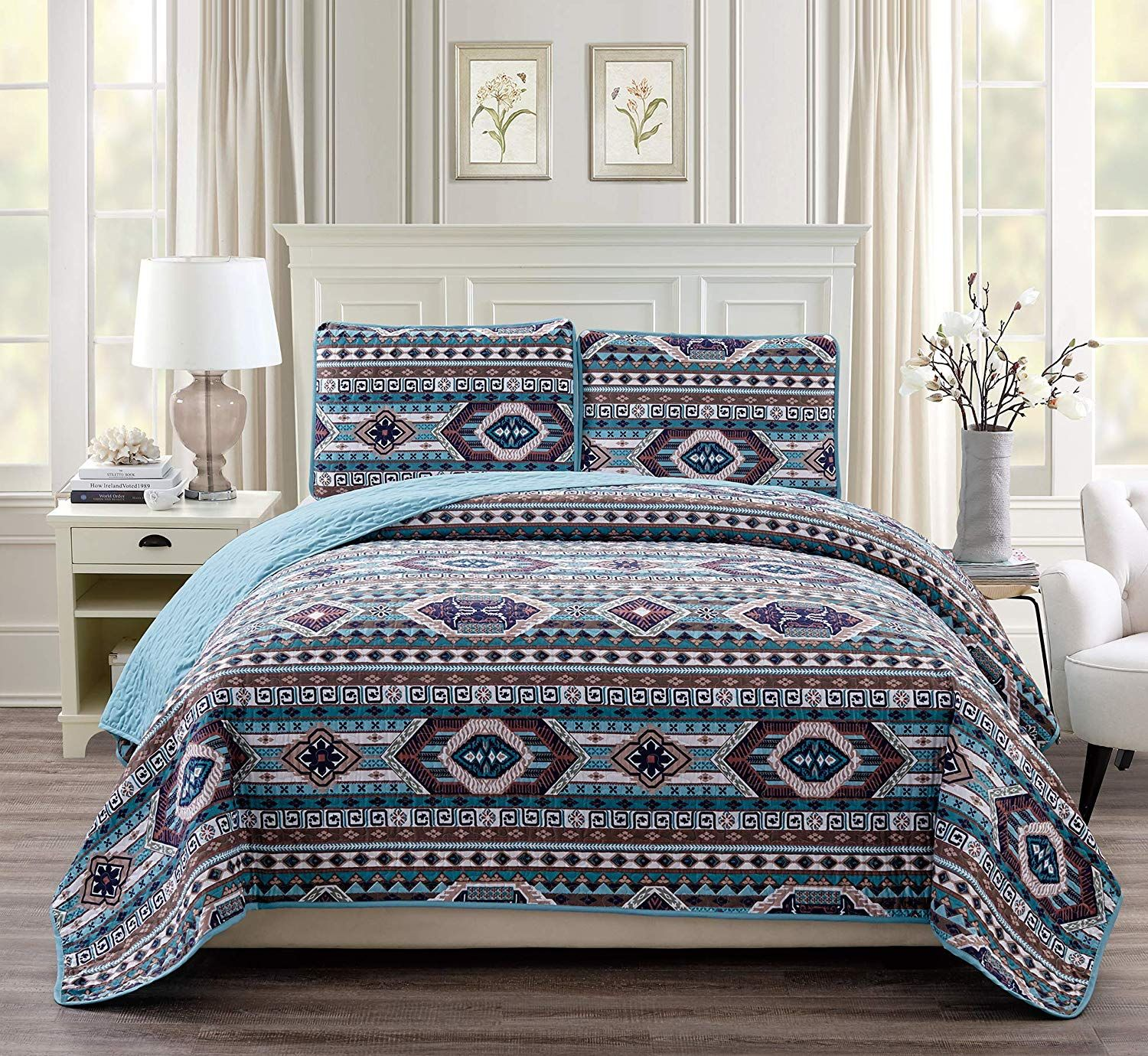 Rustic Western Southwestern Native American Quilt Set in