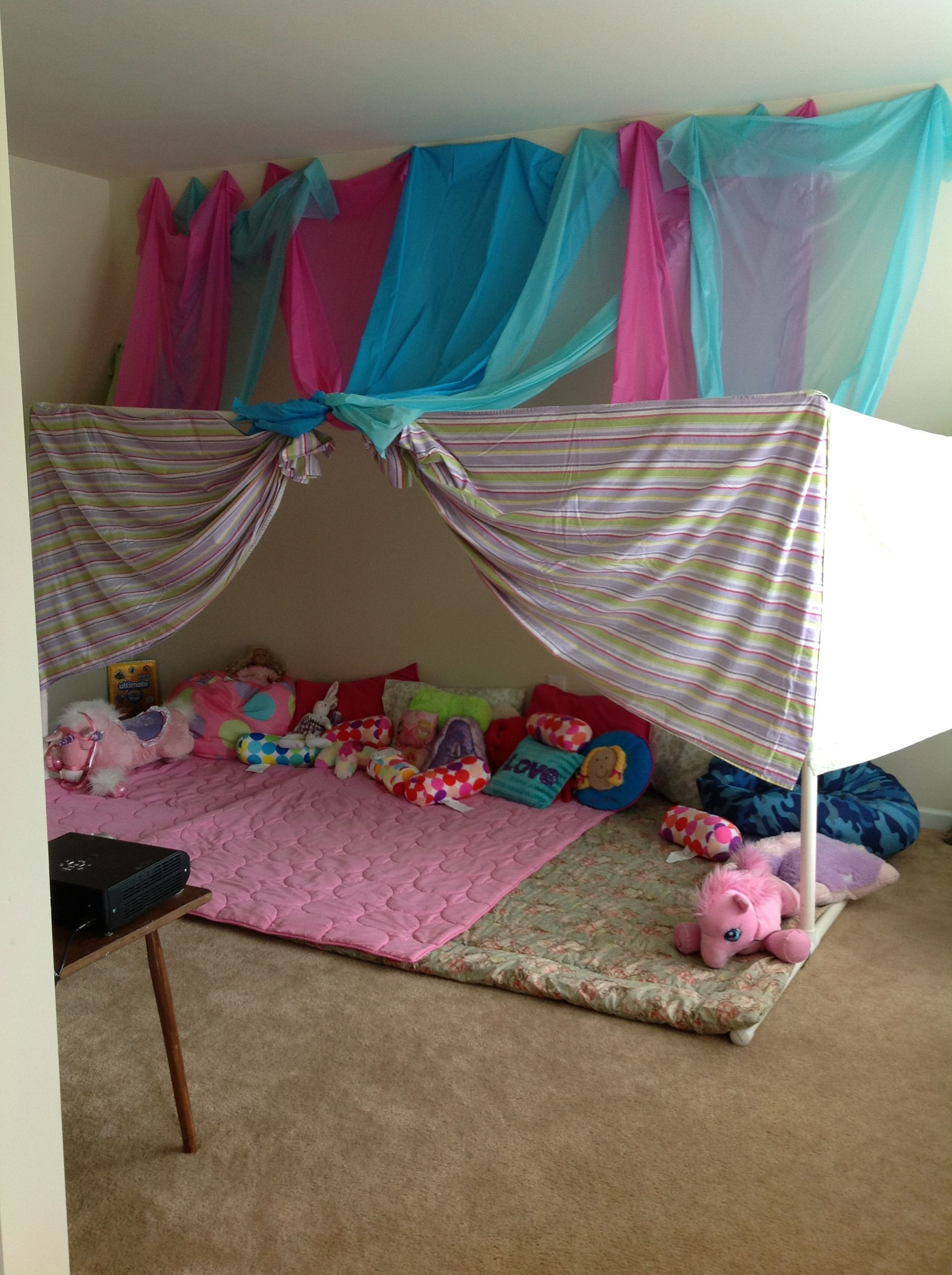 The perfect slumber party fort!!! PVC pipe, 7 oblong table