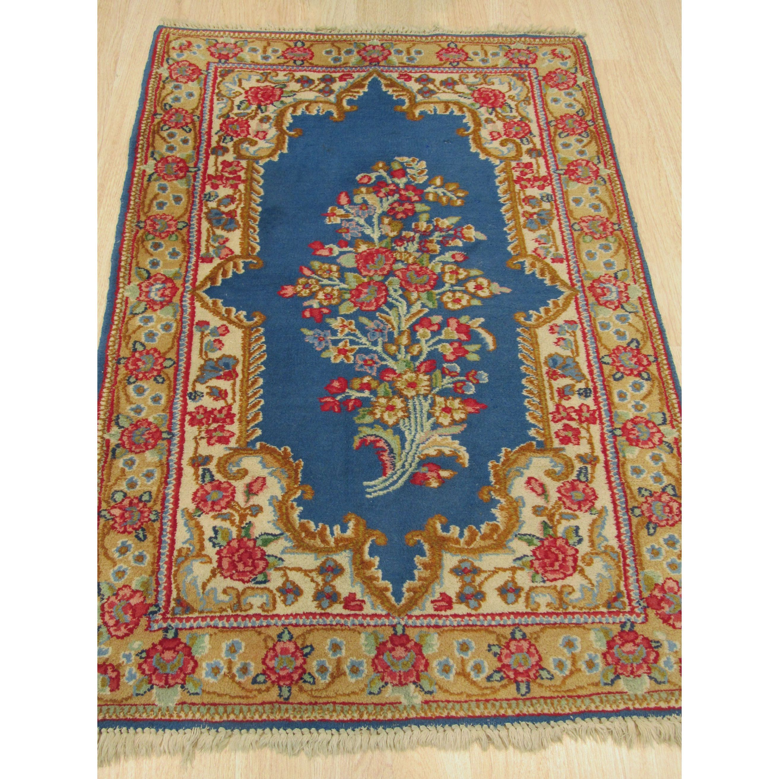 Refurbished Eorc YZ397 Kerman Blue Wool Hand-knotted Rug (3'2 x 4'10) (3'2 x 4'10), Size 3' x 5'