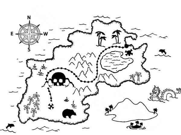 Treasure Maps Colouring Pages